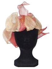 CHAPEAU de cérémonie Tailles S / M bandeau femme mariage rose et beige écru hat
