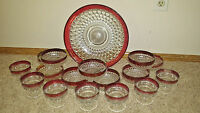 Depression American Whitehall Fostoria Cranberry Set - 17 Piece SET - Bowls Cups
