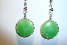 Peruvian Alpaca Silver& Green Onyx  Gemstone Drop Earrings, CP89~uk seller