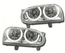 2 FEUX PHARE AVANT ANGEL EYES A 24 LED BLANC XENON VW GOLF 3 GTD TDI GTI VR6