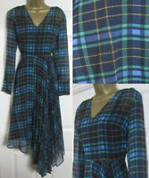 NEW M&S Holly Willoughby Tartan Checked Fit & Flare Midi Dress Asymmetric 6-24