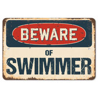 Beware Of Swimmer Rustic Sign SignMission Classic Rust Wall Plaque Decoration