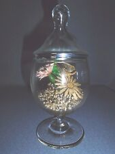 Vintage FOOTED GLASS TERRARIUM WITH DRIED FLOWERS AND BUTTERFLY