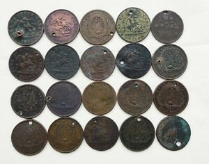 Lot of 20 Canadian Tokens from the 1800's