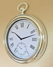 Large 43cm Silver Pocket Watch Wall Clock Fob Style Kitchen Hallway Sitting Room