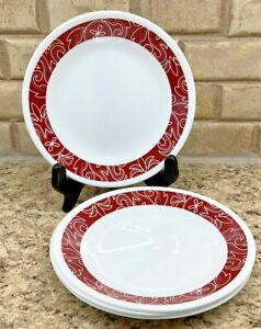 """(4) CORELLE Vitrelle Bandhani Red & White 6.75"""" Bread & Butter Dessert Plates"""