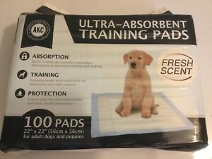 "AKC Training Pads 100 Pack Ultra Absorbent 22"" x 22"" For  Adult Dogs And Puppies"