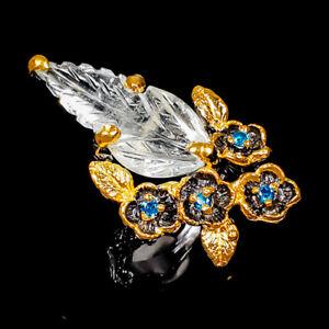 Jewelry Fine Art SET Aquamarine Ring Silver 925 Sterling  Size 7.5 /R173737