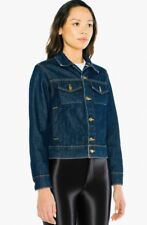 American Apparel Denim Jean Jacket Button Closure Resin Dark Wash Indigo small