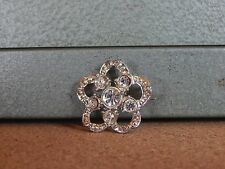 Costume Jewellery Brooch  Daisy Stylised Clear & Silvertone 3cm