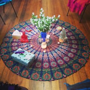 Bohemian Cover Indian Mandala Gypsy Round Tapestry Beach Towel Yoga Mat Blanket