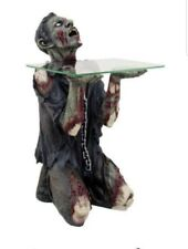 """Begging Chained Slave Walking Undead Zombie Side Table With Glass 22.5""""H Pet Wal"""