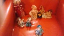 "Lot of (9) Porcelain Vintage Small Dolls 6 dolls + 3 Clowns Sizes 9"" - 1- 3/4"""