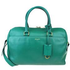 Authentic SAINT LAURENT Logo 2Way Shoulder Bag Leather Green Gold Italy 39BP980