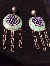 Iconic 80s Big Earrings, Industrial Edge Design Metal Purple&Green&Copper Rare