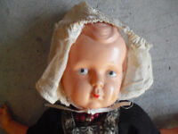 """Vintage 1930s Jointed Celluloid Ethnic Girl Doll 14"""" Tall"""