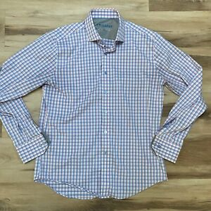 Twillory Mens Shirt Performance Tailored Fit  Pink Blue Plaid Size 16 34-35