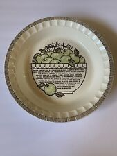 "Vintage Royal China Jeannette 11"" Deep Dish Apple Pie Plate/ Baker w/ Recipe"