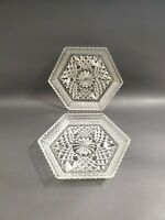 Vintage Anchor Hocking Wexford Pattern Footed Hexagonal Shaped Glass Dish Set 2