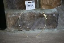 NEW RIVIERA METAL HEADBAND GOLD WITH METAL LIGHT PINK FLOWER ACCENT