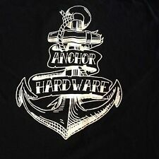 Anchor Hardware T-shirt M MEDIUM Black Old School Tattoo/Nautical/Punk Rock Art!