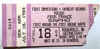 Sapho France Cachelot Ticket Stub First Avenue Minneapolis July 28th 1984