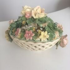 Beautiful Vintage Capodimonte Flower Bowl Vase with Lid Made in Italy 3005-P