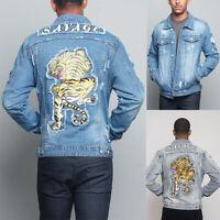 Victorious Men's Ripped Distressed Savage Tiger Washed Denim Jean Jacket DK133