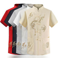 Summer Men's Stand Collar Tang Suit Tai Chi Embroidered Shirts short Sleeve Tops