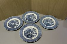 "Currier & Ives - (4) 10"" Dinner Plates ""The Old Grist Mill"" By Royal China"