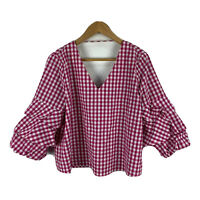 Piper Womens Top Size 12 Pink Plaid 3/4 Sleeve V-Neck Frilly