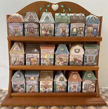 Rare Enesco Cherished Teddies Complete Set Spice Village spice jars rack