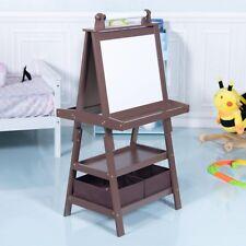 Kids Standing Art Easel Drawing Black/Whiteboard w/ Storage Box Shelves Two Tray