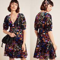 ANTHROPOLOGIE Women's Size 8 Francie Black Floral Print Velvet Mini Dress