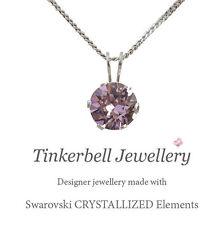 "18"" Sterling Silver Necklace w 1 Carat Swarovski Light Amethyst Purple Crystal"