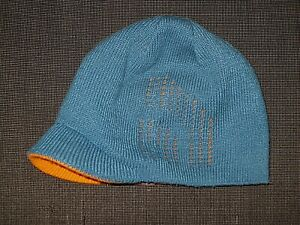 THE NORTH FACE REVERSIBLE BLUE ORANGE KNIT BEANIE SKI HAT YOUTH BOY GIRLS MEDIUM