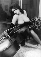 1960 Nude Pin Up Eva St Pierre Large Breasts resting on Cello 8 x 10 Photograph