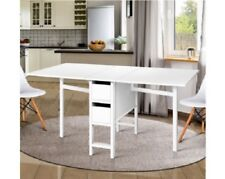 Extendable Dining Table White Folding Sewing Desk Craft Drawers Side Fold Office