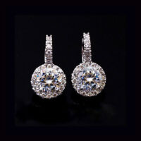 3.50 ct Off White Round Moissanite Unique Stud Earrings 925 Sterling Silver