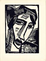 "Original 1920 Woodblock Print KARL SCHMIDT-ROTTLUFF ""Woman's Head"" Ed. 600"