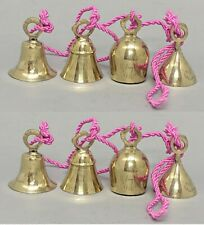 """Bells Brass 4 on 36""""Long Pink Twisted String Bells 1.5""""Dia 3""""Tall Set/2 Strings"""