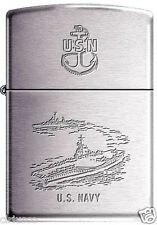 United States Navy USN Aircraft Carrier Destroyer Military Chrome Zippo Lighter