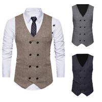 Formal Men's Dress Slim Fit Suit Vest V-neck Waistcoat Business Casual Coat