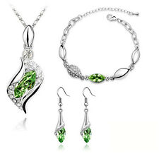 Luxury Jewellery Set Green Crystal Eyes Drop Earrings Necklace & Bracelet S262