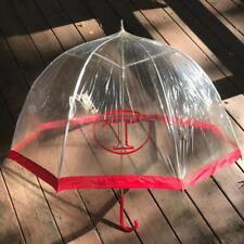 "Vintage Clear Plastic Umbrella Red ""T"" Logo"