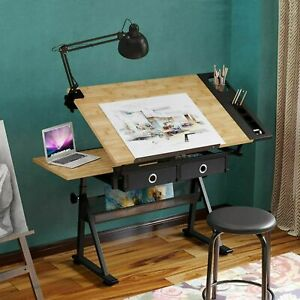 Height Adjustable Drafting Table Art Craft Drawing Desk w/ Stool Storage Drawers