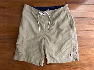 Men's POLO RALPH LAUREN Khaki Swim Trunks Shorts Swimsuit Bathing Suit Sz Small
