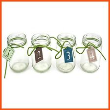 12 x SMALL DECORATIVE GLASS JAR with LEATHER NUMBER TAG | Craft Fashion Art Home