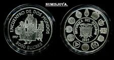 ECUADOR 1997. 5000 SUCRES PLATA. Encuentro Dos Mundos. 3ª SERIE IBEROAMERICANA.