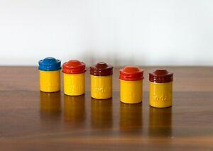 Vintage Kodak Metal 35mm Film Canisters - Lot of 5 - Colorful/Retro Decoration